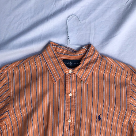 Ralph Lauren Brown White Stripe Classic Dress Shirt NWT